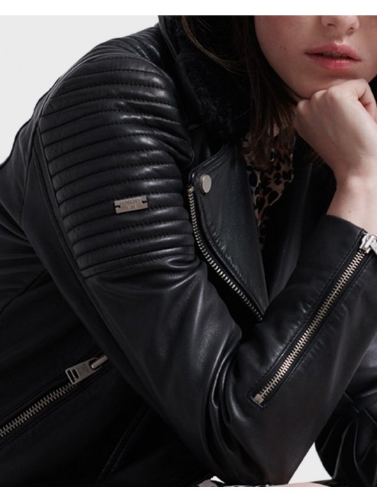 Kožená bunda SUPERDRY dámska Premium winter leather biker