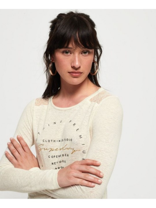 Tričko dámske SUPERDRY lace back graphic top