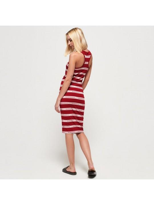 Superdry šaty Mila stripe midi Červená